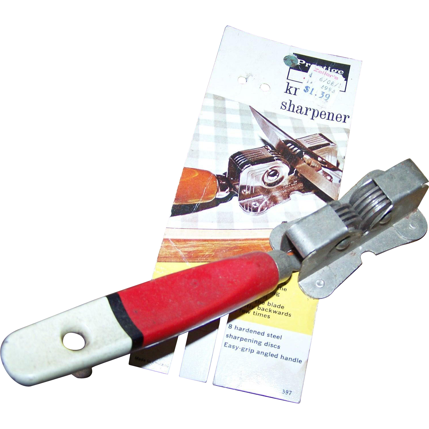 Prestige Skyline Made In England Retro Mid Century Era Metal Knife Sharpener Wood Handle