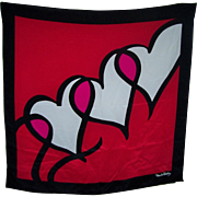 Lovely Large Designer Diane Von Faustenberg  Signed Ladies Scarf Heart Pattern