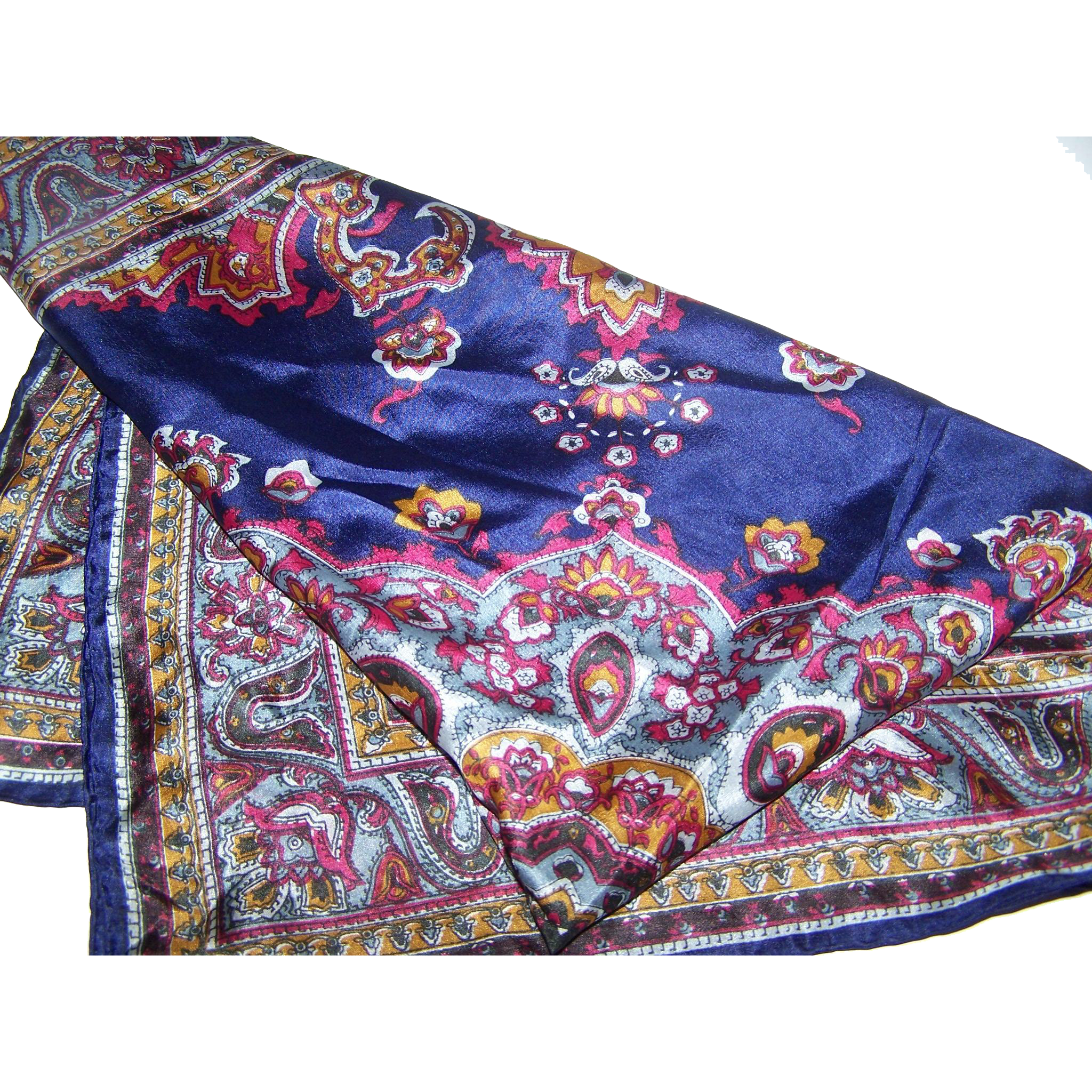 Stunning Vintage Ladies Fashion Silk Scarf Paisley Pattern