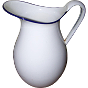 Great Old White Enamelware Pitcher For Your Country Kitchen