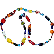 Vintage Chunky Multi-Colored ,Textured ,Shaped Art Glass Trade Bead Style Necklace