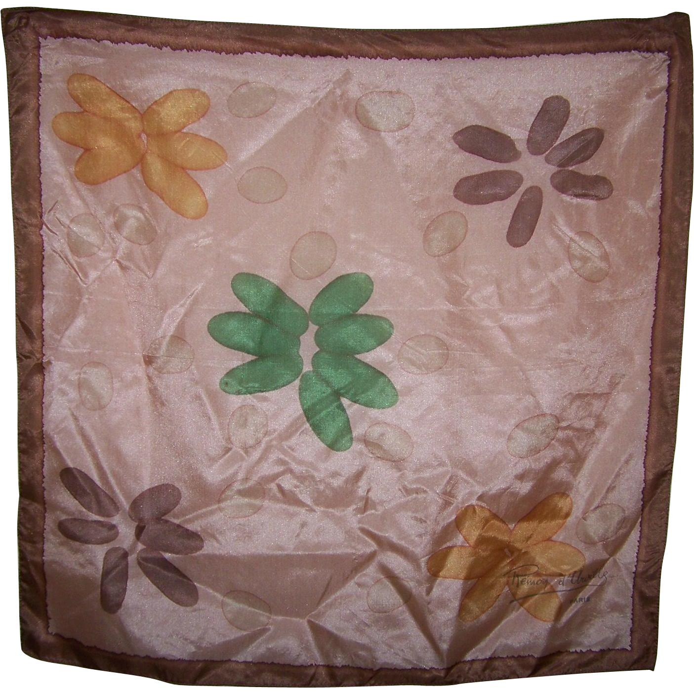 Lovely Designer Signed REMOY d'URVILLE Paris Hand Printed Silk Scarf