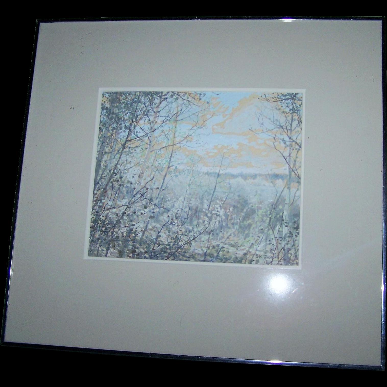 Framed Scenic Birch Tree Water Media Painting Gouache