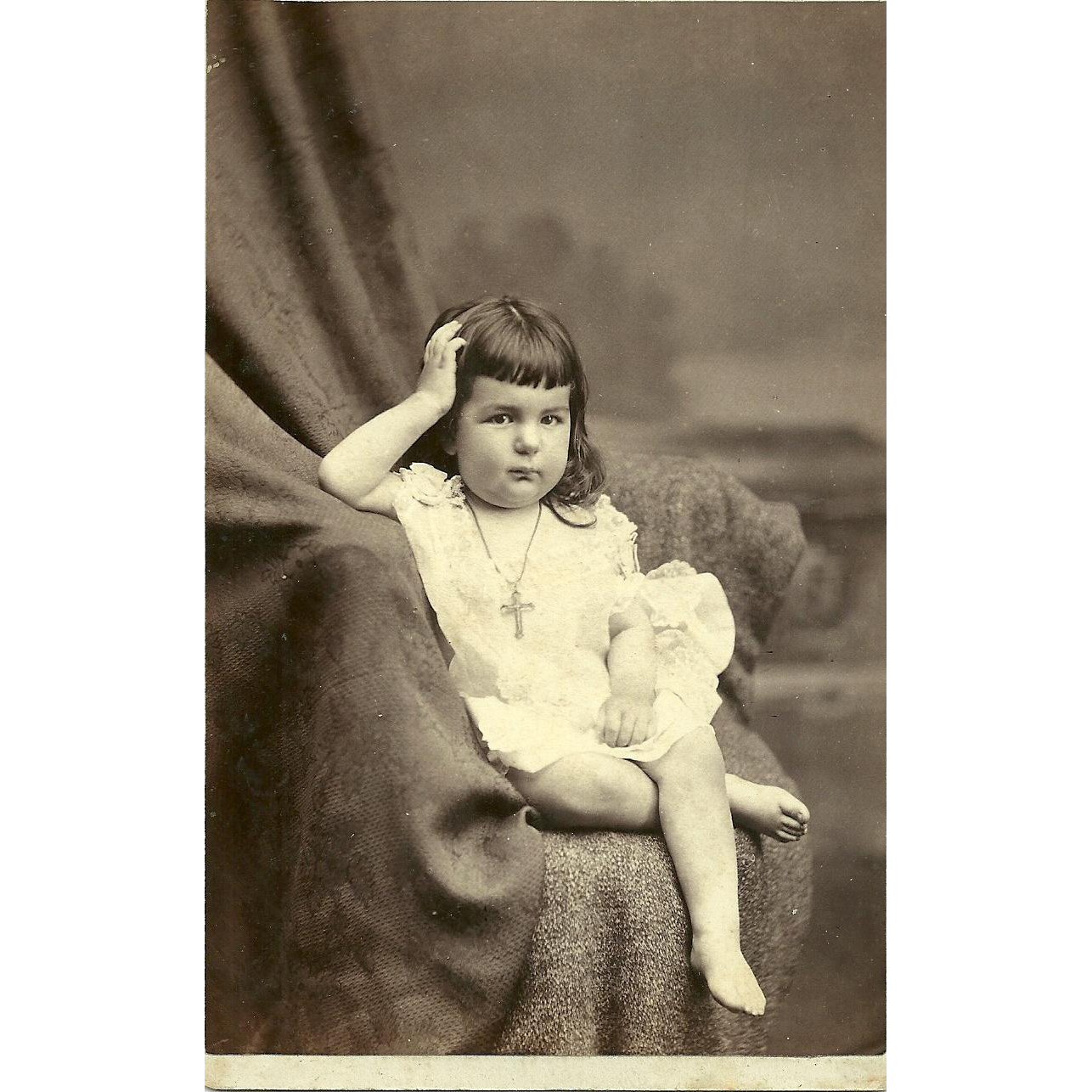 Unusal Cabinet Card Photo Chubby Little Girl Cross Crucifix Necklace Palace  R.R. Photography Car Co.