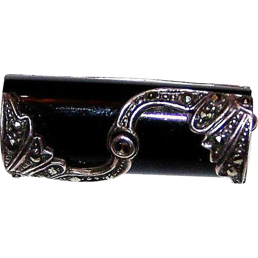 925 sterling black onyx marcasite deco style pin brooch for L furniture warehouse victoria bc