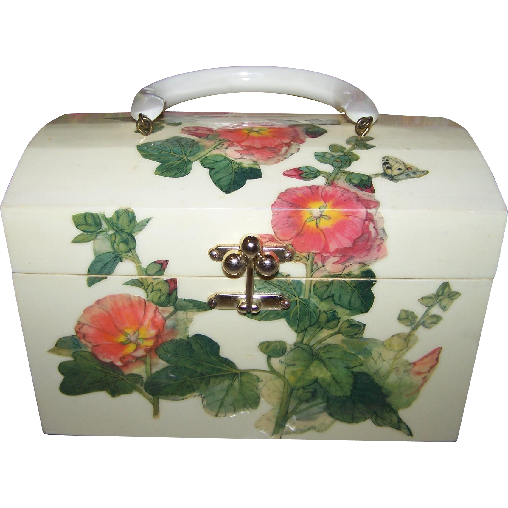 Vintage Billie Ross of the Palm Beaches Decoupage Style Wooden Box Purse