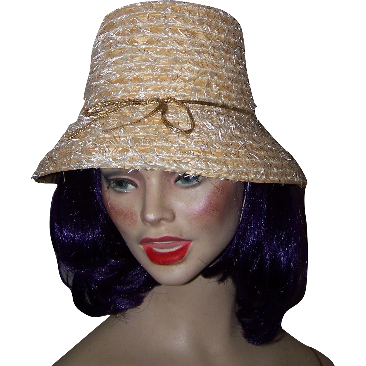 Audrey Hepburn Bucket Style Straw Hat Made In Italy