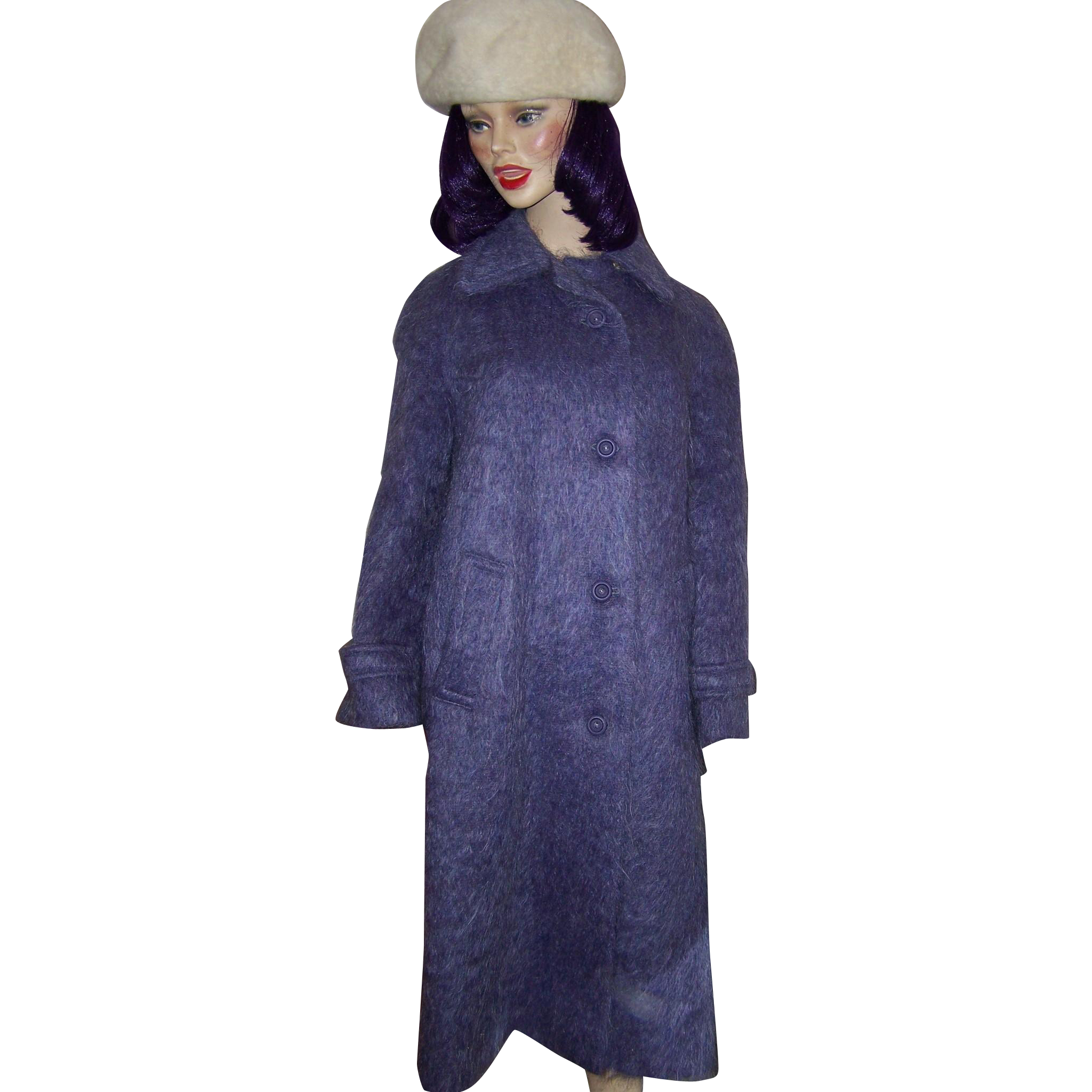 Ladies Size 14 Purple Mohair Wool Long Style Coat by Andrew Stewart