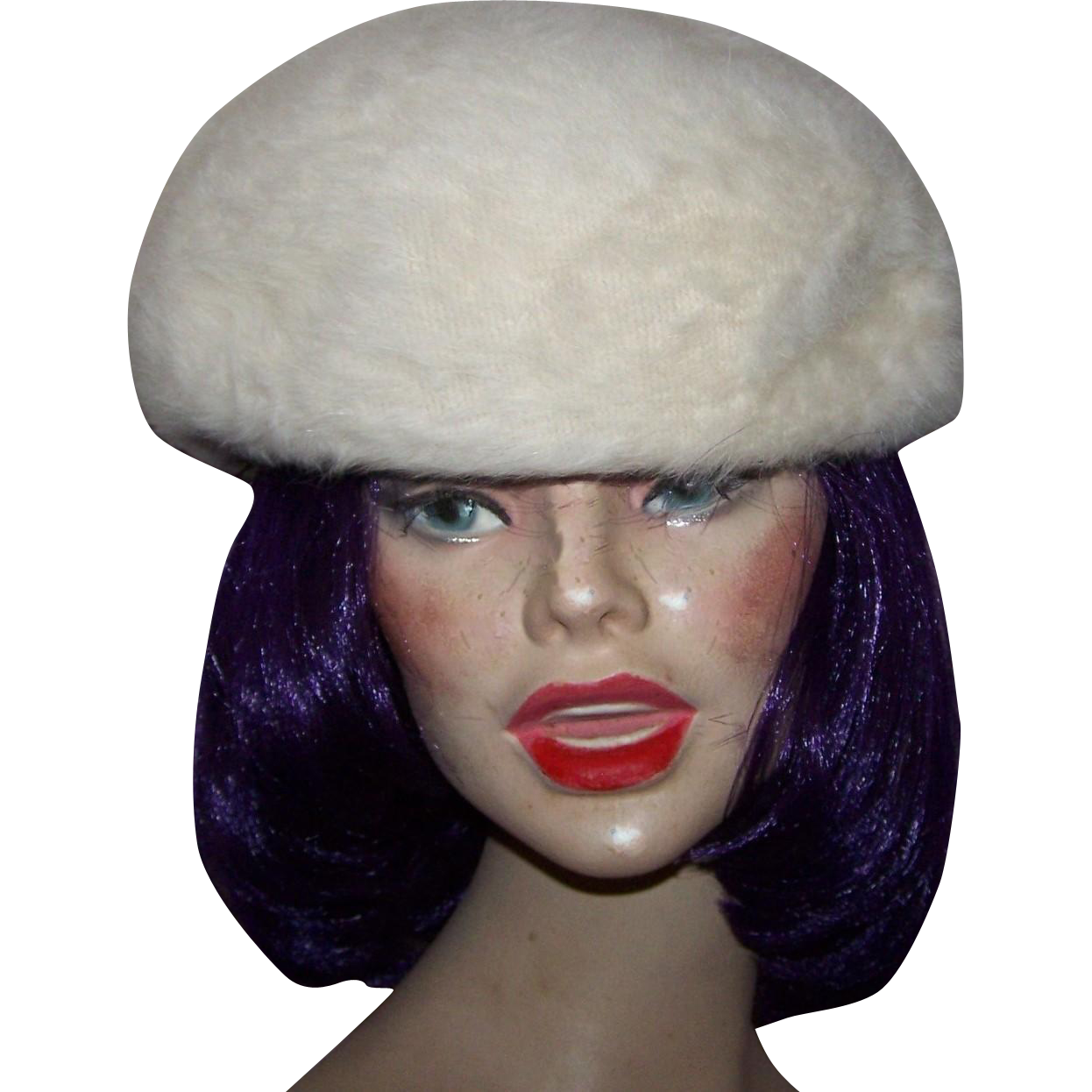 Ladies Vintage Angora Wool Style Beret Hat