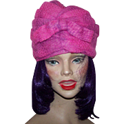 Vintage 1960's Era Henri Original  Pink Purple Crochet Turban Style Hat B
