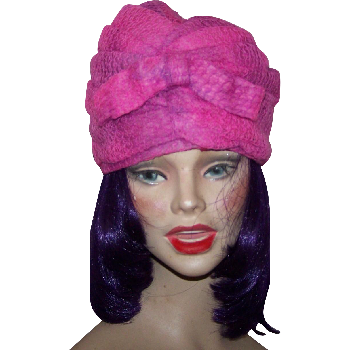 Vintage 1960's Era Henri Original  Pink Purple Crochet Turban Style Hat