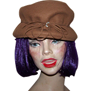 Hubbard Felt Company Ladies  Brown Felt  Fashion Hat