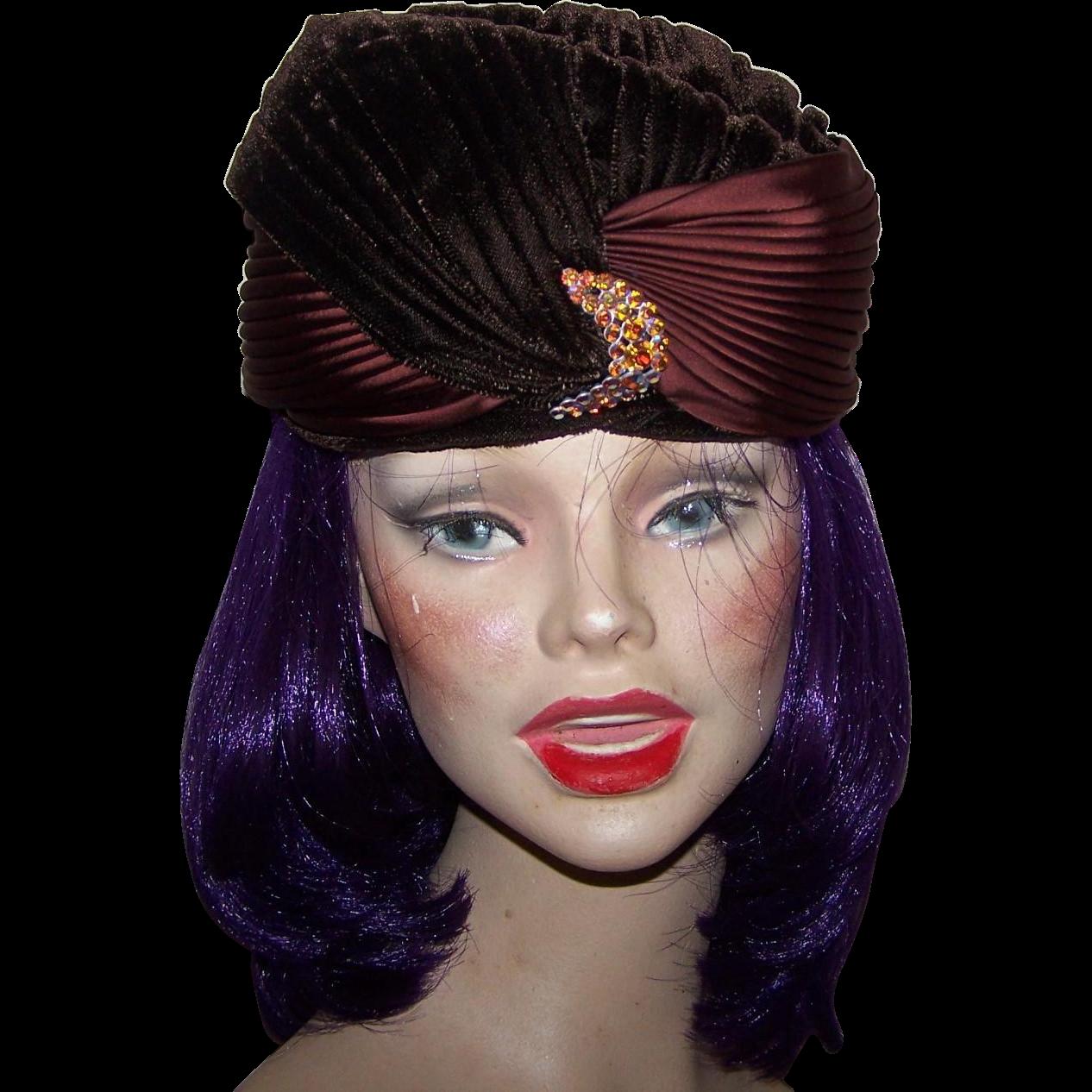 Movie Star Glam  Vintage 60's era Brown  Velvet  Silk Turban Style Ladies Fashion Hat
