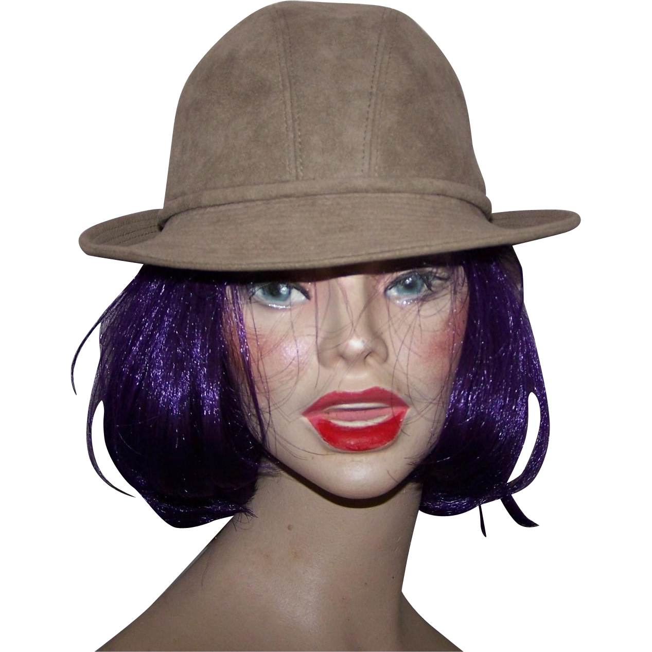 Canadian Designer Anita Pineault Beige Faux Suede  Women  Fashion Hat