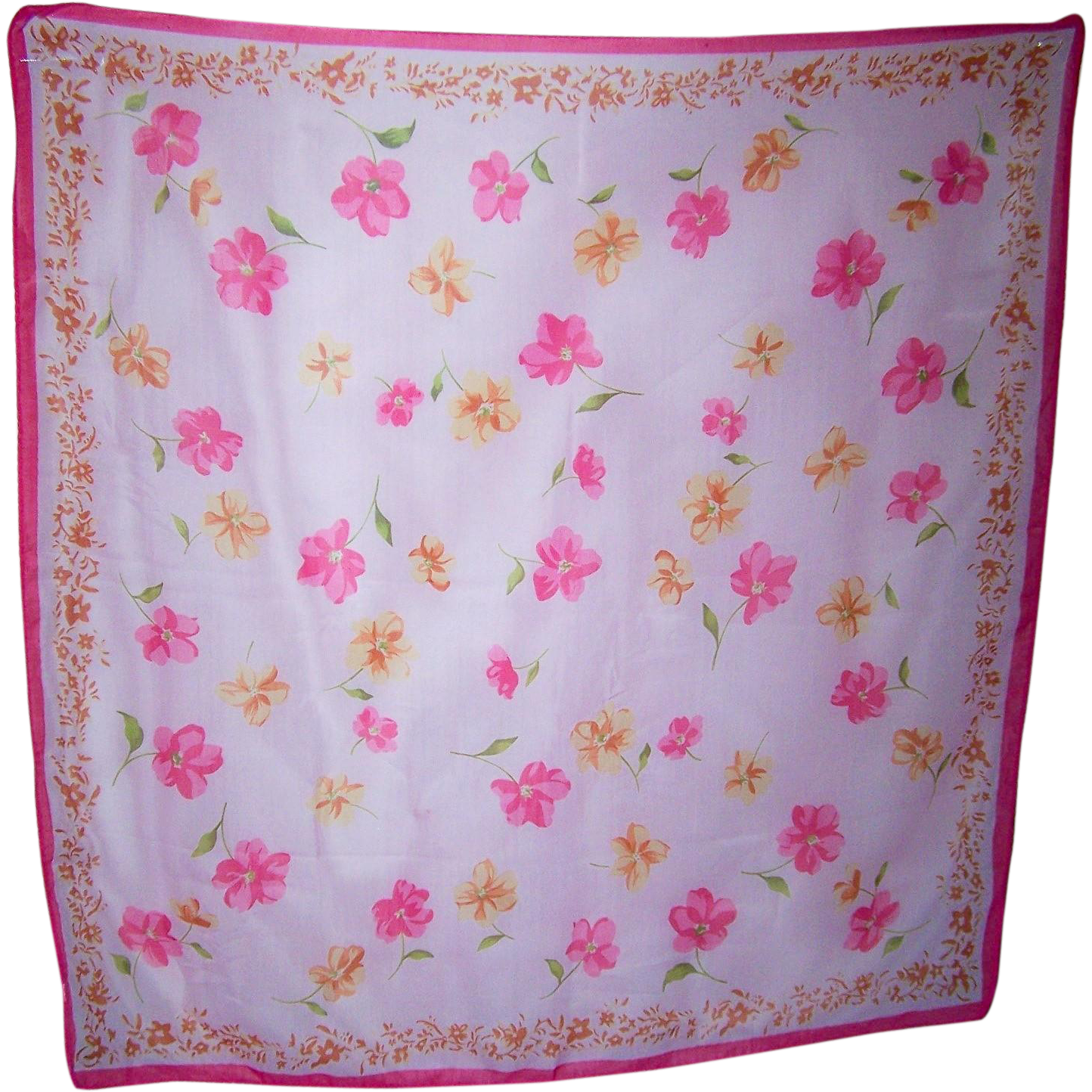 An Oh So Pretty Vintage Polyester all over Floral Chintz Print Ladies Fashion Scarf