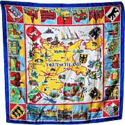 WOW What a Bright and Cheerful Vintage Travel Souvenir Scarf for DEUTSCHLAND