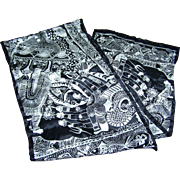 Interesting Black & White Designer Signed Adrienne Vittadini Silk Rectangular Scarf