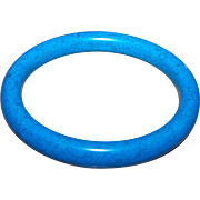 A Special and Unique Vintage  Marbled Blue Glass Bangle Bracelet