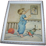 Vintage Nursery Linen Style Print Bonella Milano Italy  Little Boy , Bunny Rabbit