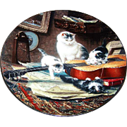 String Quartet Kitty Cat Kitten Plate By Henriette Ronner W.L. George Fine China
