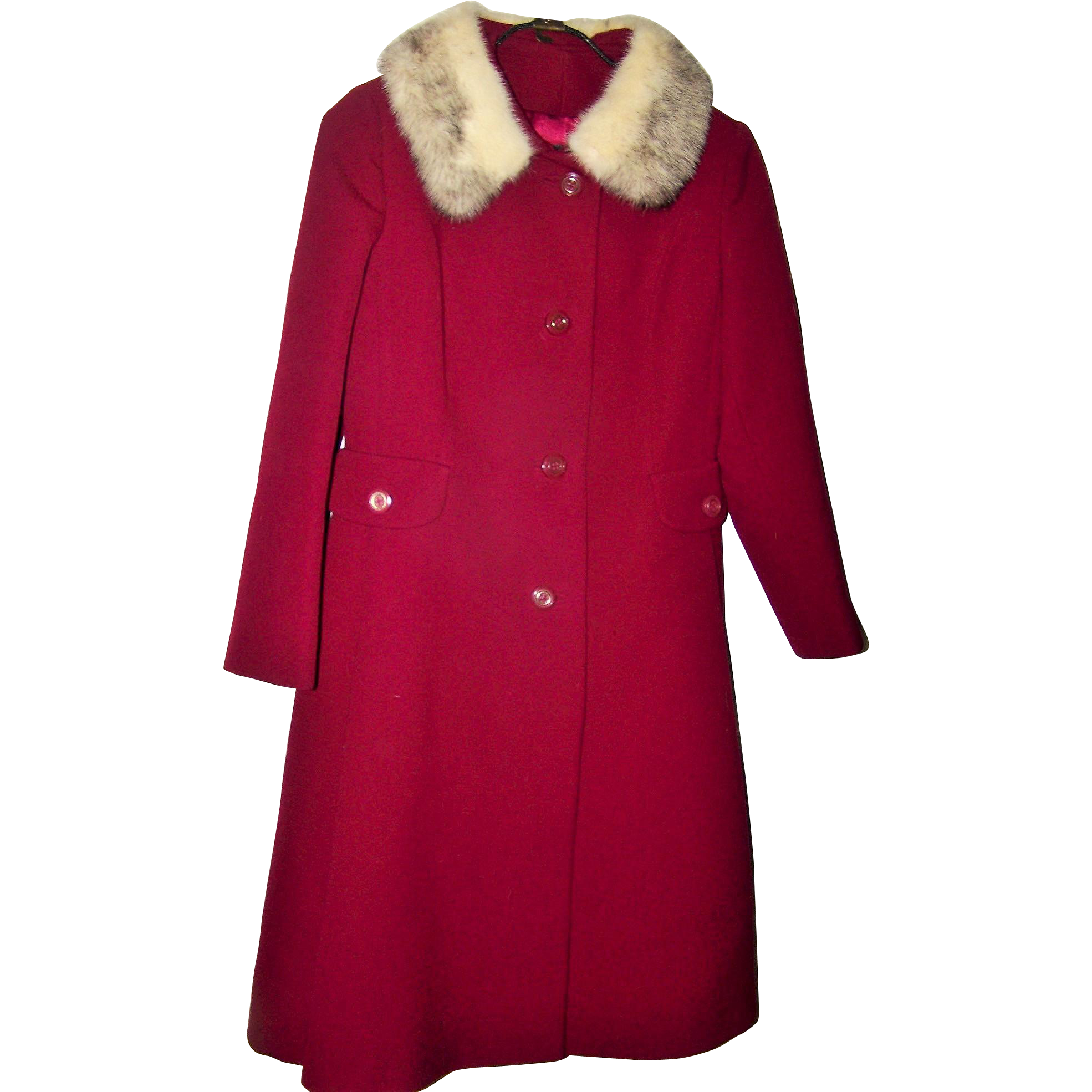 Pure Virgin Wool Made In Canada Ladies Vintage Union Label Fashion Coat Real Fur Collar