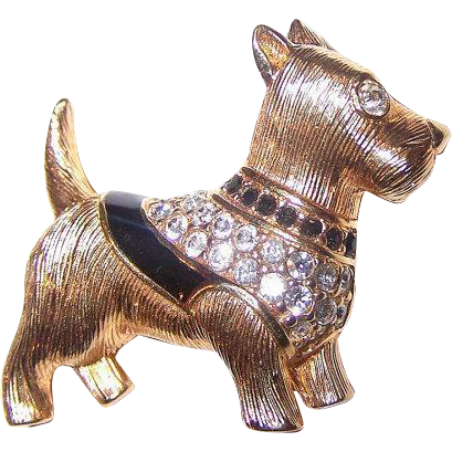 Designer Signed SWAROVSKI Terrier  Scottie Dog Brooch  Pin  Swan Hallmark