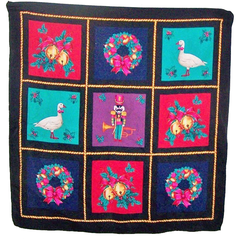 Symbolic Vintage Season Holiday Christmas Poly Silk Scarf