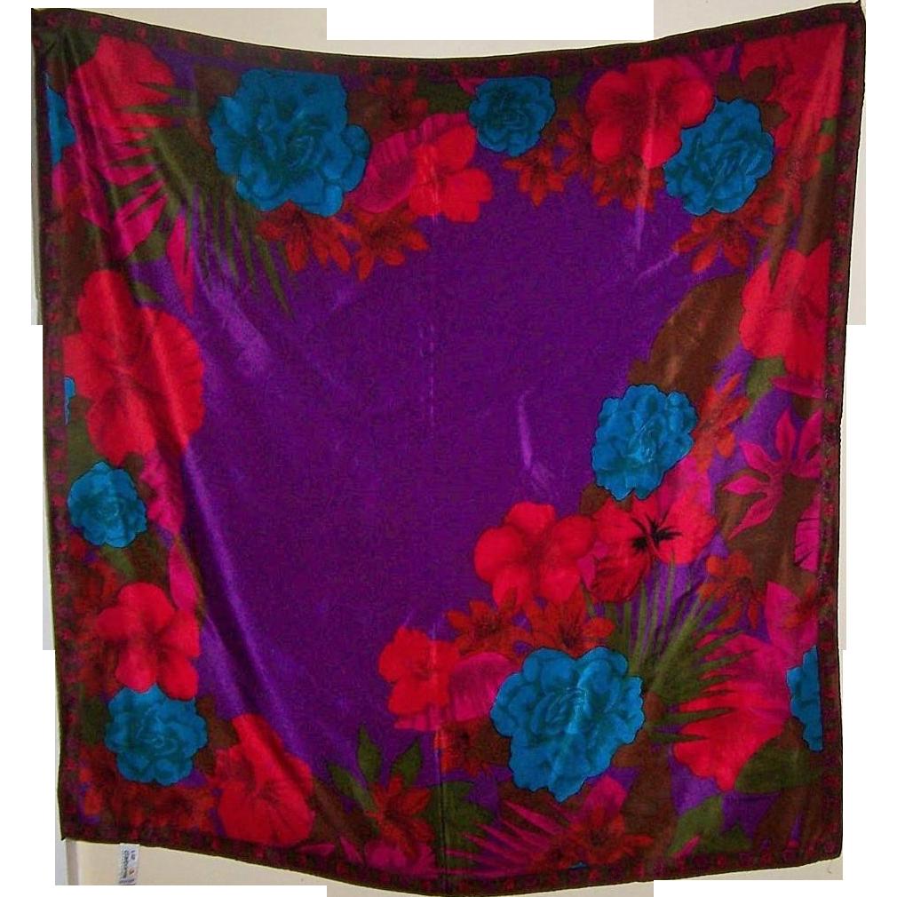 Beautiful Vintage Designer Signed Silk Scarf  by Liz Claiborne  Floral Pattern