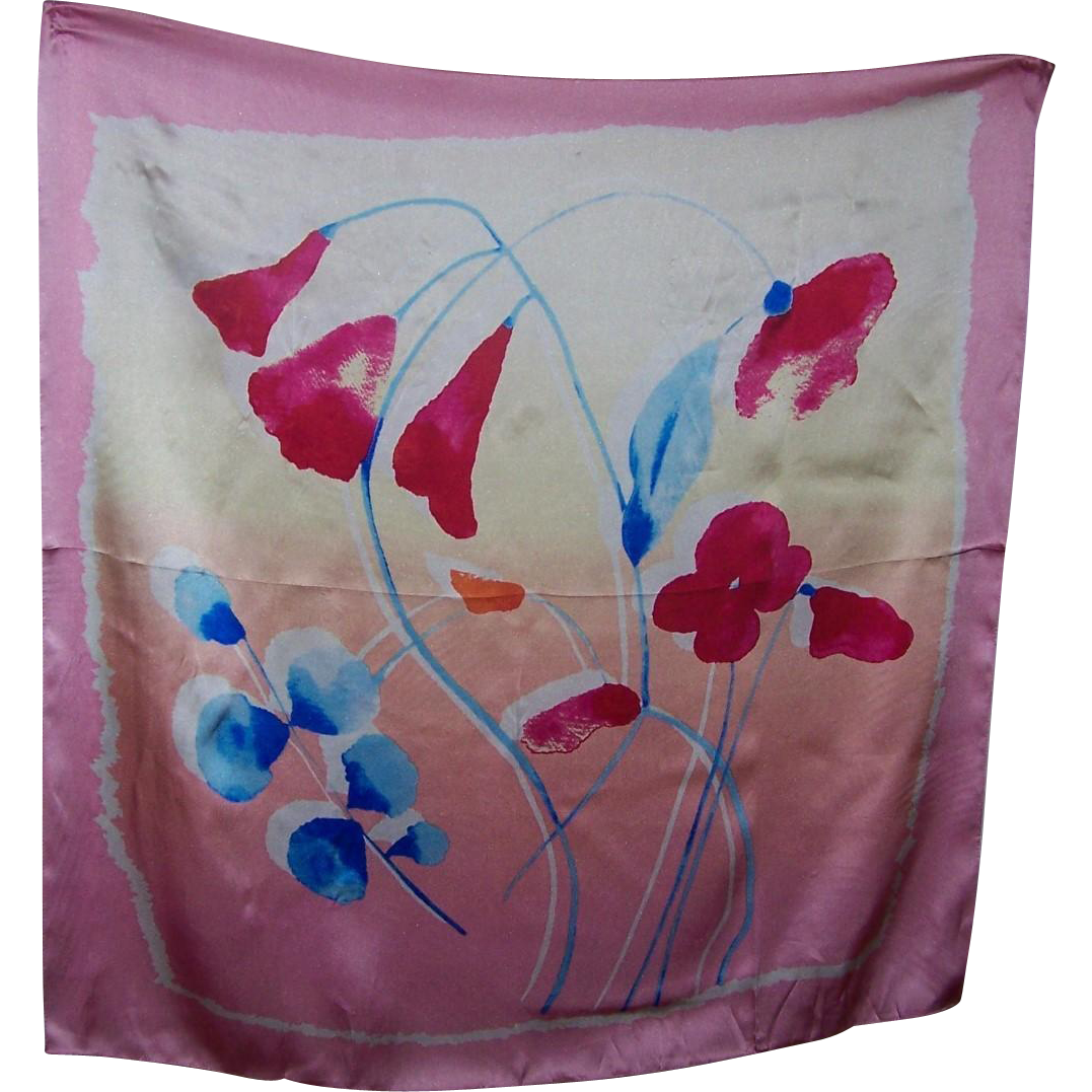 Lovely  Quality Vintage Silk Scarf Impressionist Style  Floral Motif Wearable ART