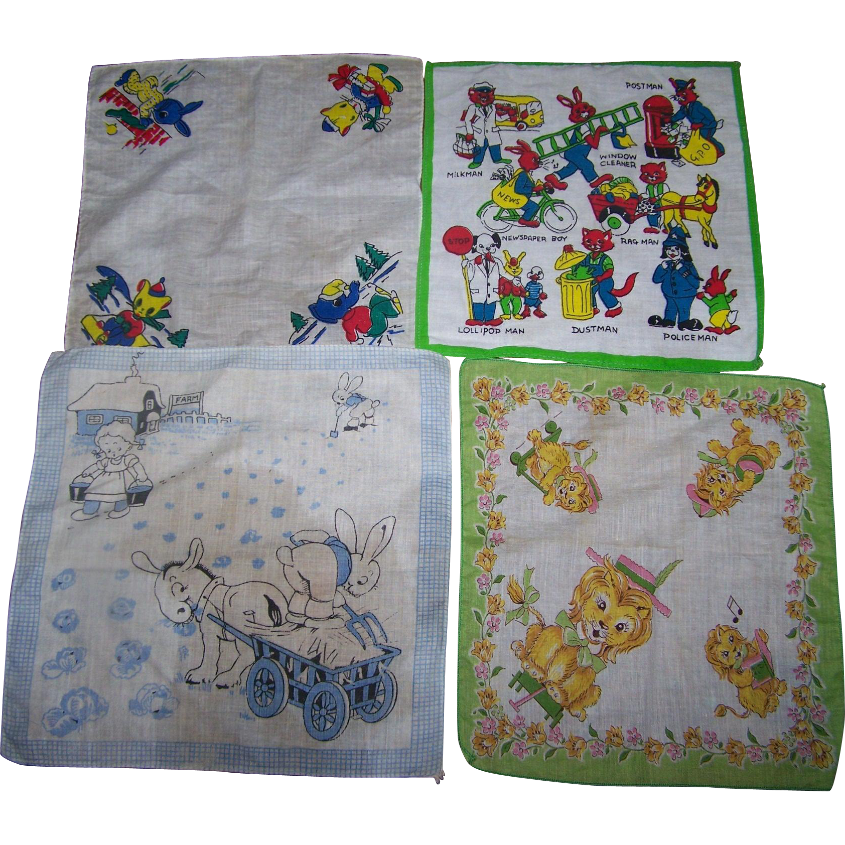 A Lovely Lot of 4 Vintage Children's  Handkerchief Assortment