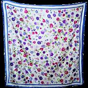 Pretty Floral Pattern Designer Signed Laura Ashley Poly Silk  Scarf