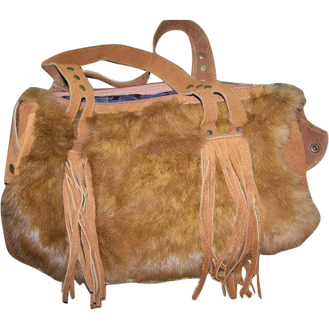 Vintage Dyed Rabbit Fur and Suede Purse with Fringes