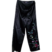 Ladies Vintage Satin Oriental Style Pants Size Petite 21 Embroidered Floral Decoration