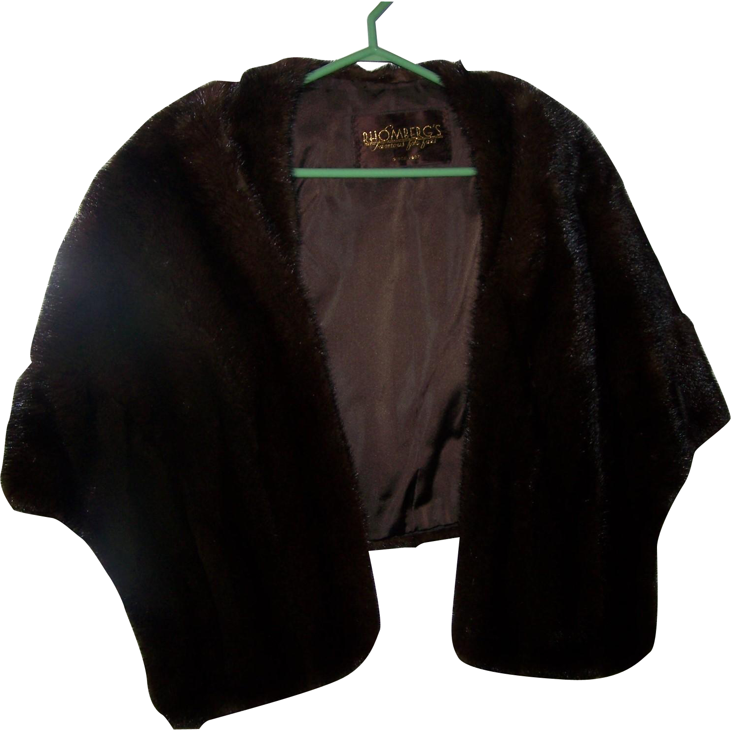 Mid Century Quality Mink / Muskrat Fur Shrug Stole RHOMBERG'S