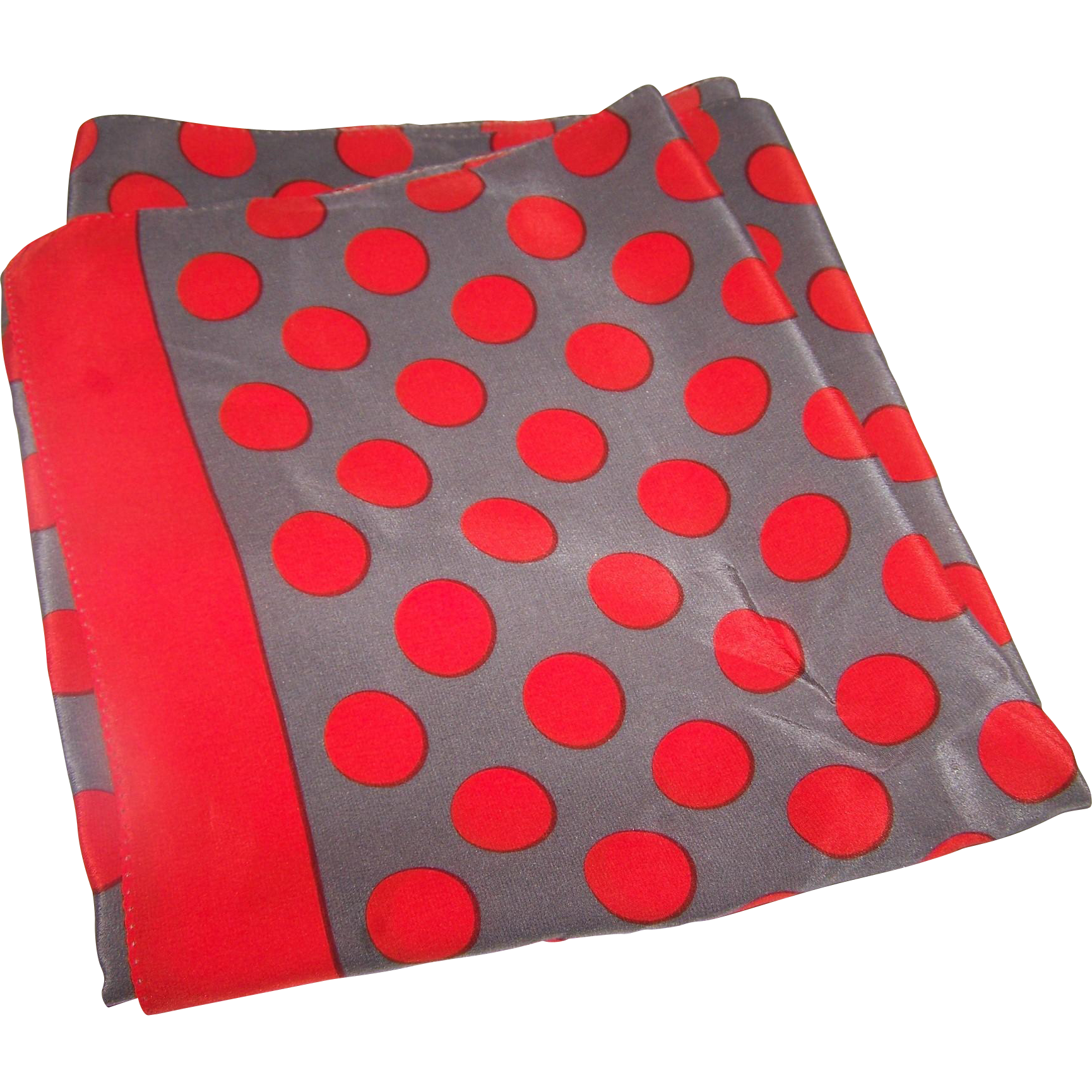 Long Rectangular Silver Gray and Reddish Orange Polka Dot Silk Scarf