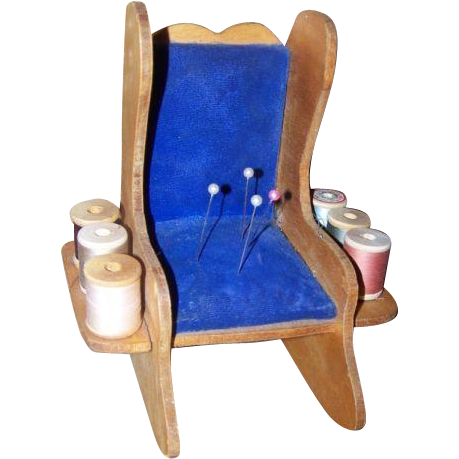 Rocking Chair Pin Cushion Handmade Spool Holder Caddy Vintage
