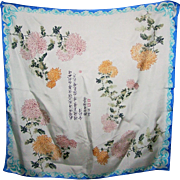 Beautiful Silk Ladies Fashion Scarf Chrysanthemum Floral Pattern Symbolic Asian Characters