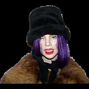 Vintage 1960's Mad Men  Era  Plush Faux Fur Winter Hat with Neck Tie Scarf