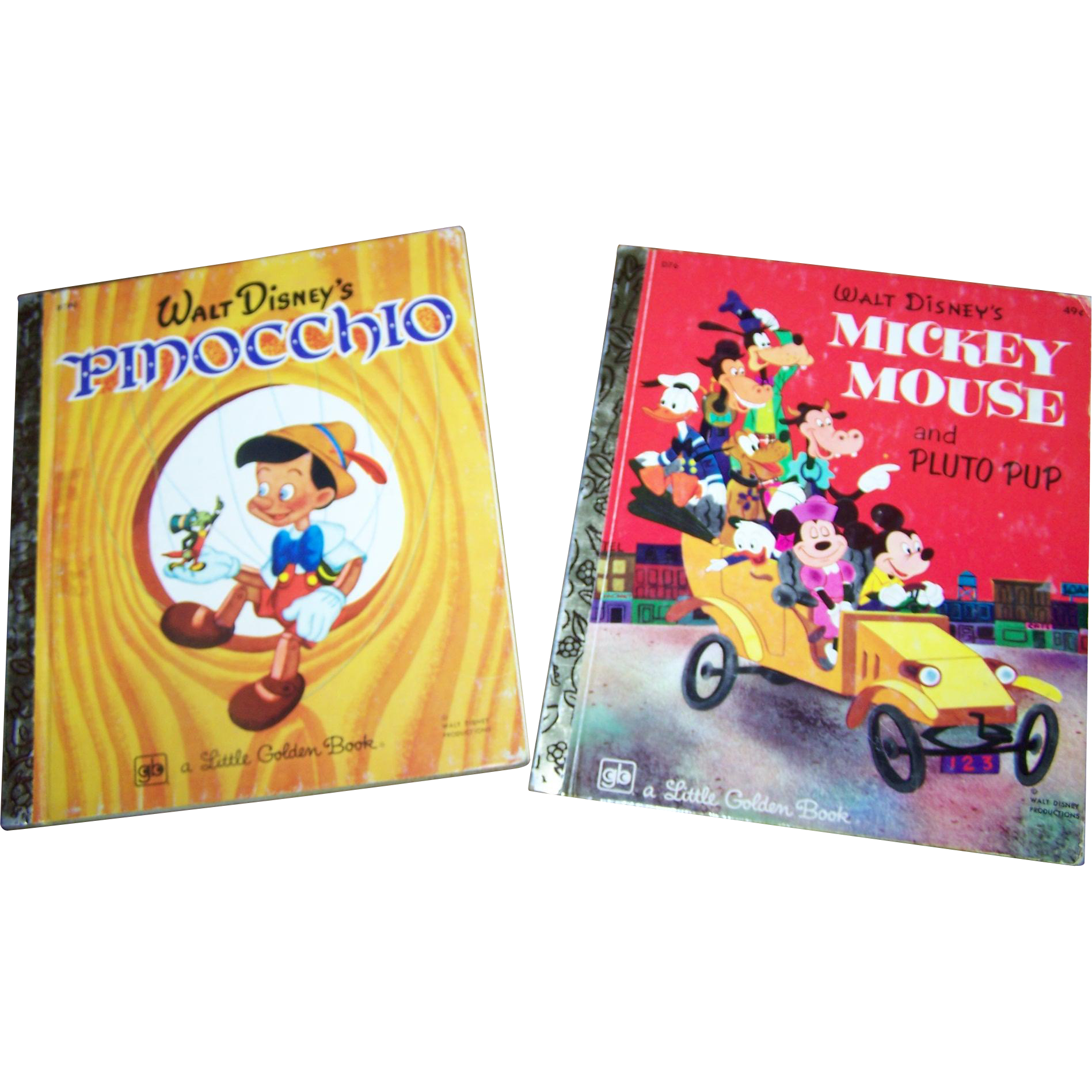 2 Vintage Children's Books Walt Disney's Mickey Mouse and Pluto Pup /   Pinocchio A Little Golden Book
