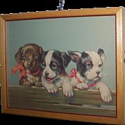 Sweet Vintage Framed Puppy Dog Print Home Decor Wall Art