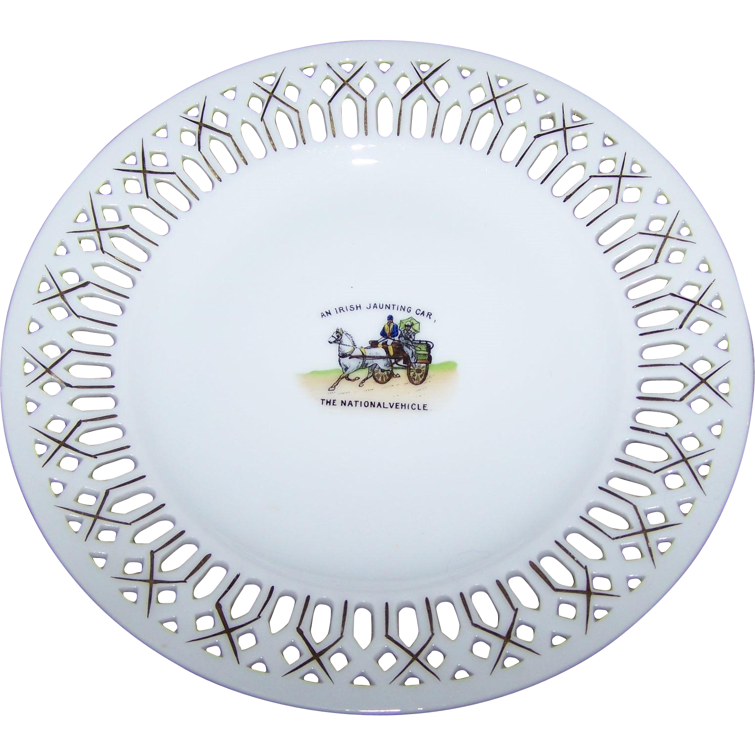 Pierced Reticulated Ribbon Plate An Irish Jaunting Car  The National Vehicle  Victoria China Czechoslovakia