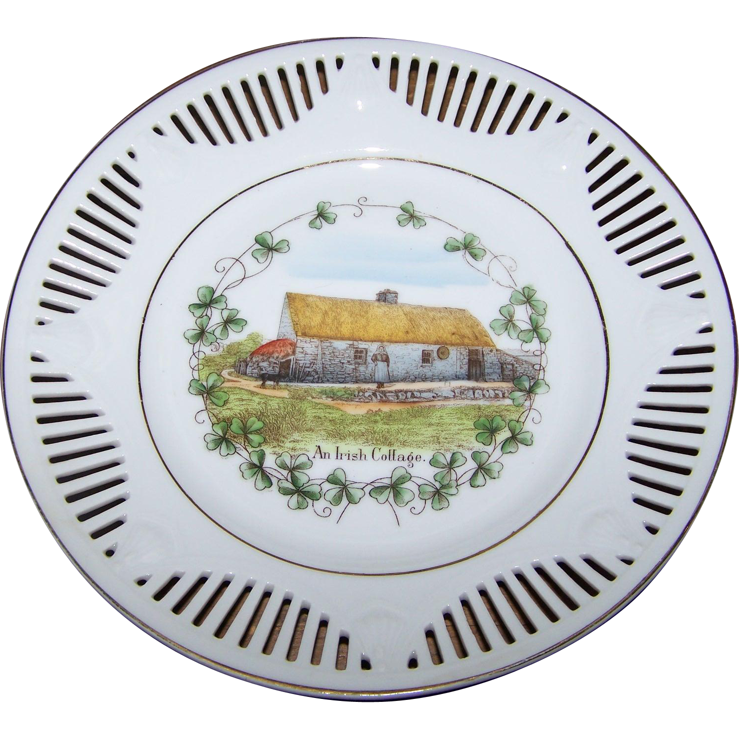 "A Beautiful Vintage Pierced Reticulated Ribbon Plate "" An Irish Cottage """
