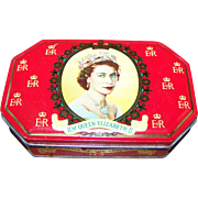 Vintage Souvenir James Marshall  Devon LTD  Tin Featuring a Portrait of H.M. Queen Elizabeth II