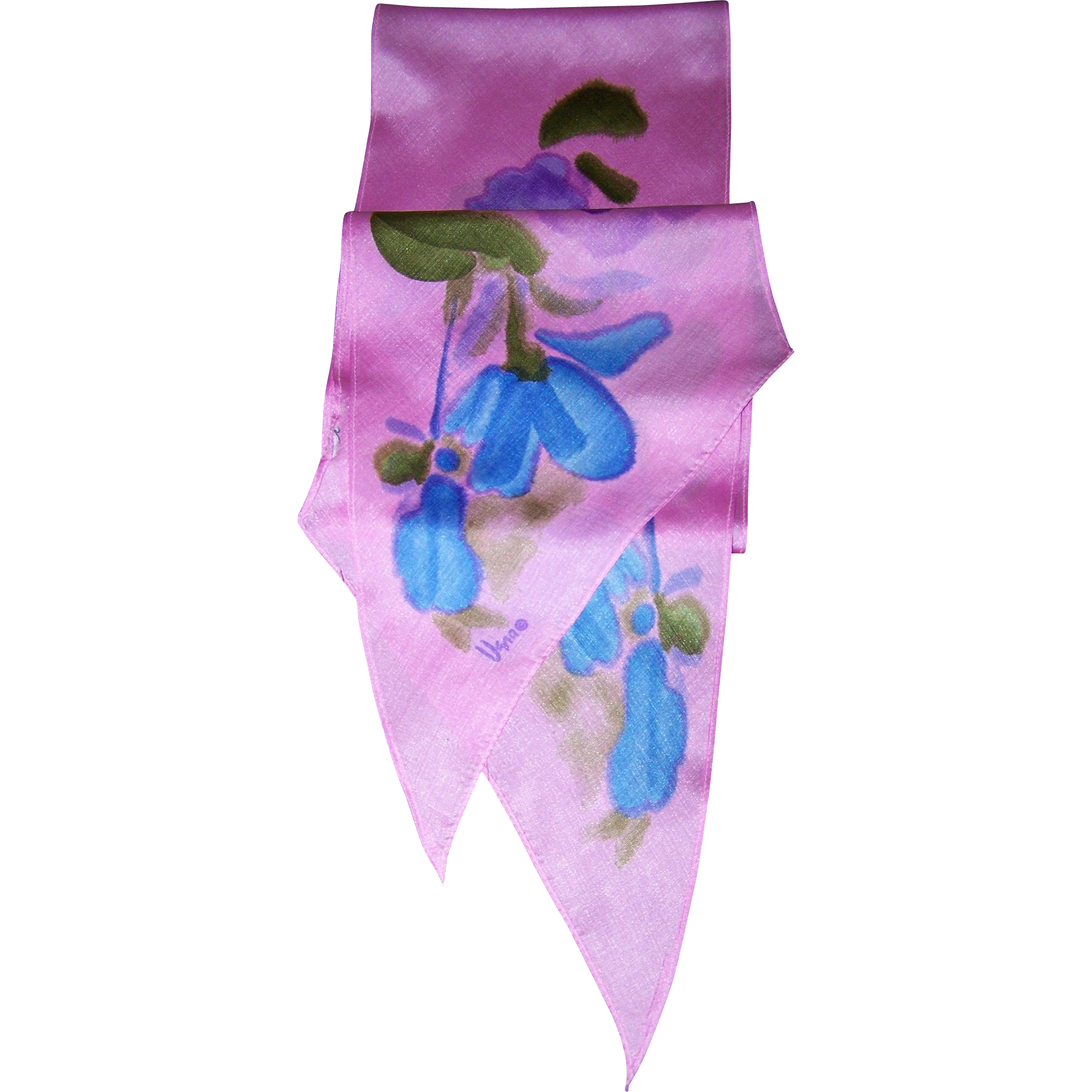 Long Wing Tipped Signed Vera Poly Silk Floral Motif Pink Scarf