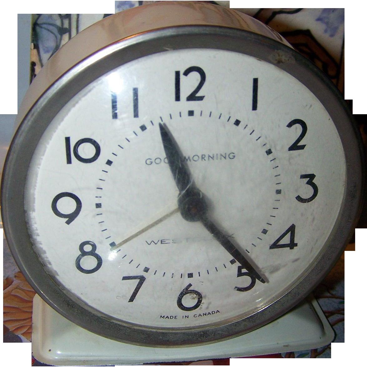 Metalware Westclox Good Morning Wind Alarm Clock MI Canada Home Decor