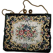 Vintage Needle Point Tapestry Glass Bead Purse Hong Kong Oh So Pretty