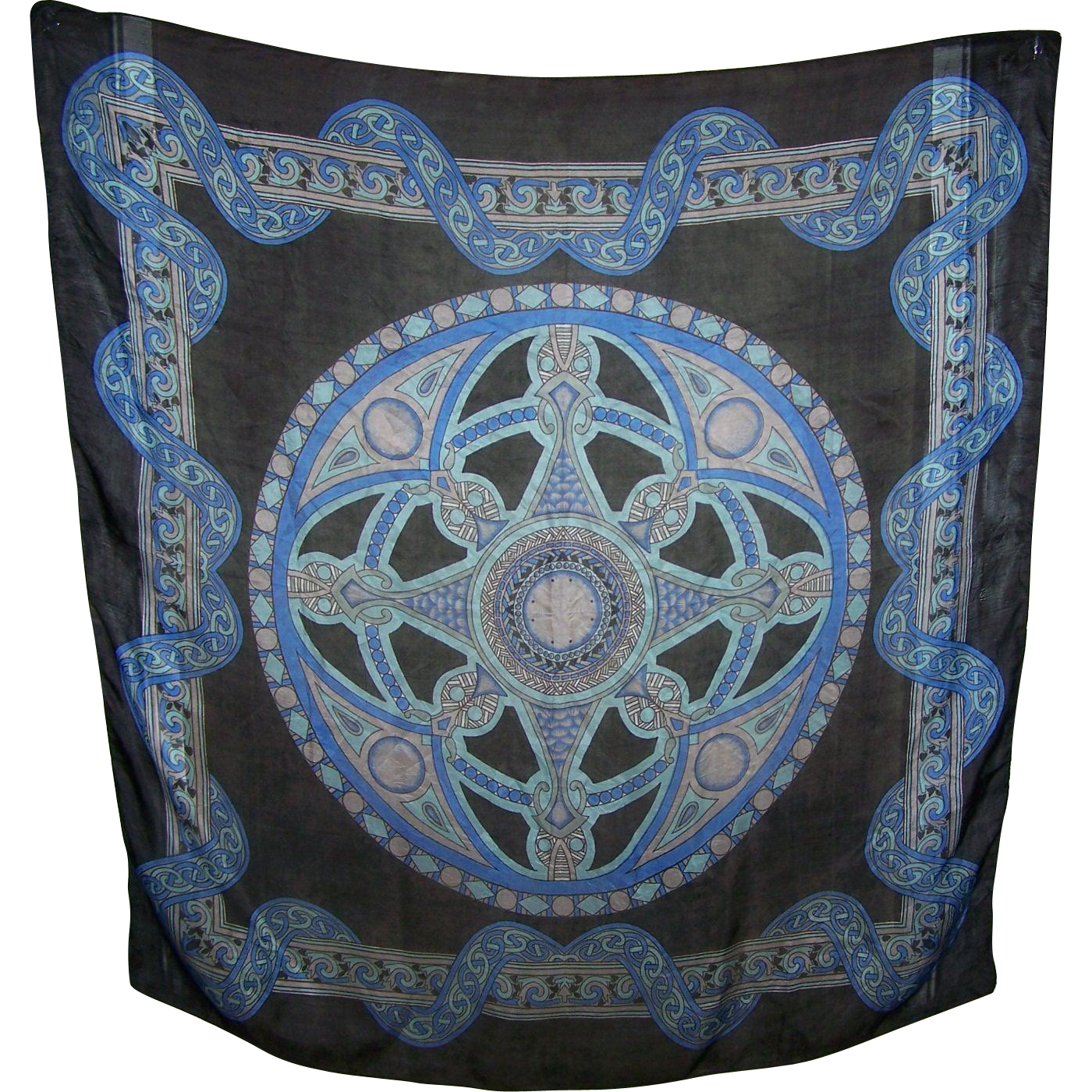 Lovely Large Decorative  40 Inches Square 100 Percent Silk Scarf  Wearable ART