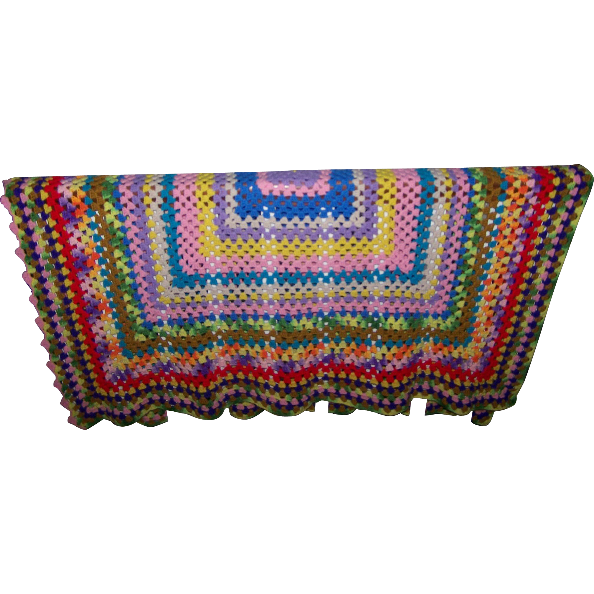 Hand crafted vintage crochet blanket oh so colorful for L furniture warehouse victoria bc