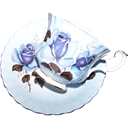 Vintage Pale Blue Rose FLoral Motif Royal Albert Tea Cup Saucer Set  England