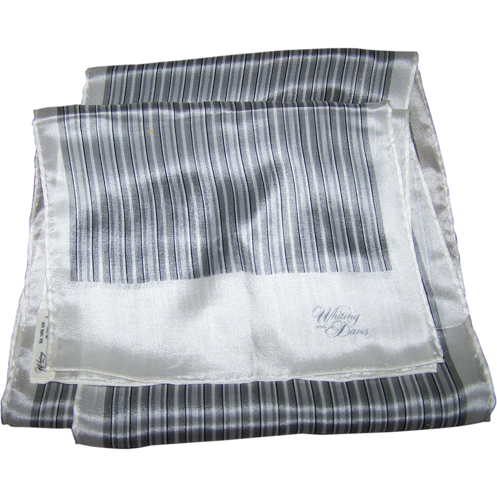 Vintage  Designer Signed Whiting and Davis 100 % Silk Long Rectangular Scarf Striped Pattern